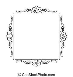 marco, flores, negro, clásico