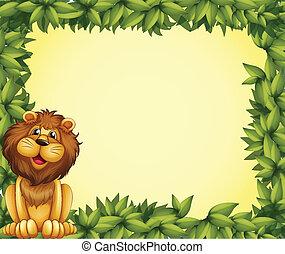 marco, frondoso, león, plantilla
