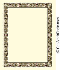 marco, frontera, arabesco