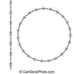 marco, frontera, círculo, acero, barbwire