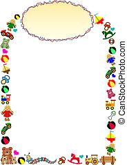 marco, frontera, cima, juguetes