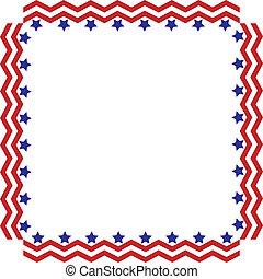 marco, frontera, rayas, estrellas, o