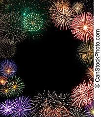 marco, fuegos artificiales, copia, centro, espacio