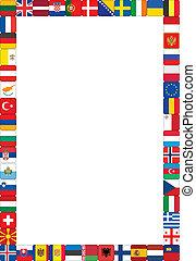 marco, hecho, banderas