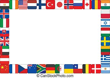 marco, hecho, de, mundo, bandera, iconos