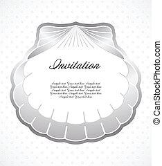 marco, hecho, de, perla, shells., vector