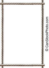 marco, hecho, de, soga, blanco, plano de fondo