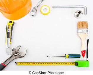 marco, hecho, herramientas