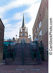 marco, igreja, em, histórico, distric