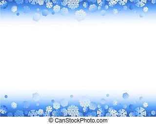 marco, invierno, copos de nieve