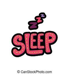 marco, letras, ilustración, sueño, cosido, zzz
