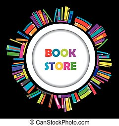 marco, libros, librería, redondo, colorido