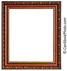 marco, madera, oro