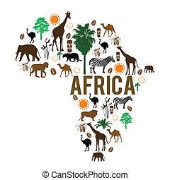marco, mapa, silueta, áfrica, ícones