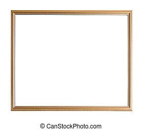 marco, moderno, delgado, oro