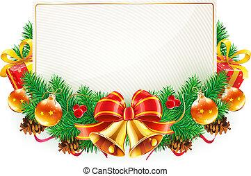 marco, navidad, decorativo