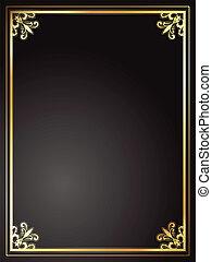 marco, negro, oro