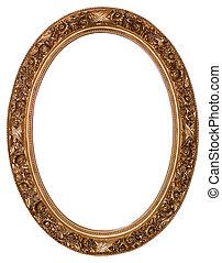 marco, oval, oro, imagen