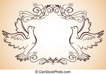 marco, palomas, boda