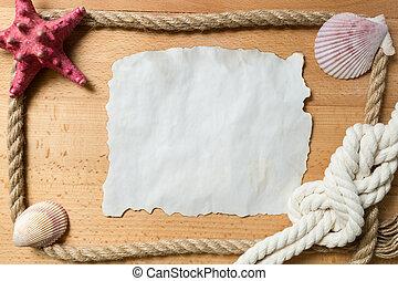 marco, papel, blanco, conchas marinas, pedazo, sogas