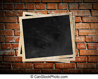 marco, pared, ladrillo, foto