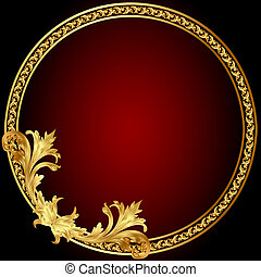 marco, patrón, círculo, gold(en)
