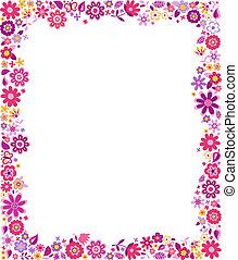 marco, patrón, frontera, floral