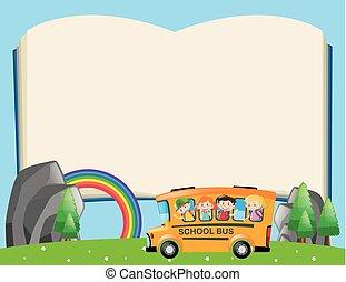 marco, plantilla, con, niños, en, eduque autobús