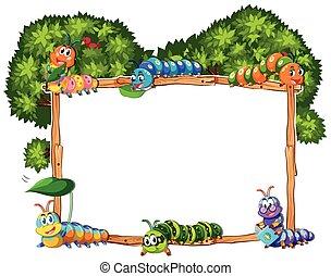 marco, plantilla, con, oruga, y, árbol