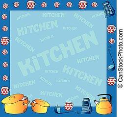 marco, platos, cocina