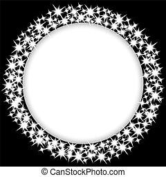 marco, redondo, estrellas