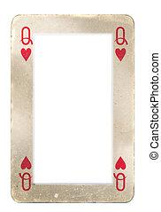 marco, reina, papel, corazones, naipe