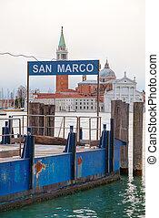 Marco,  San, 公共汽車, 停止, 簽署, 水