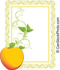 marco, sprig., manzana, amarillo