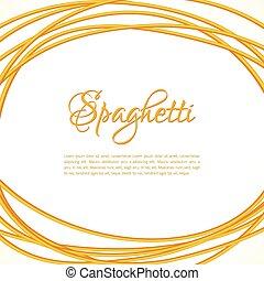 marco, torcido, realista, pastas, círculo, espaguetis