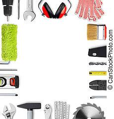 marco, trabajo, herramientas