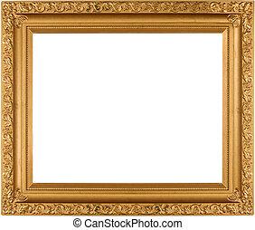 marco, vacío, oro