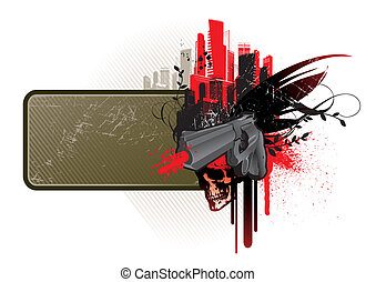 marco, vector, arma de fuego, cráneo, y