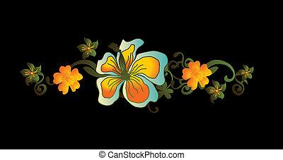 marco, vector, arte, flor, paraíso