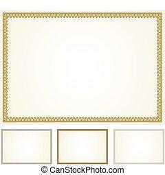 marco, vector, conjunto, certificado