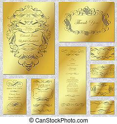 marco, vector, conjunto, oro, boda