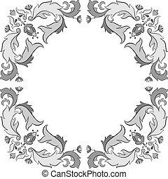 marco, vector, florido