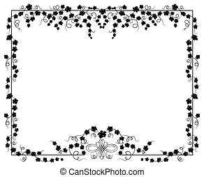 marco, vector, hiedra, ilustración