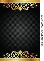 marco, vector, negro, lujo, oro