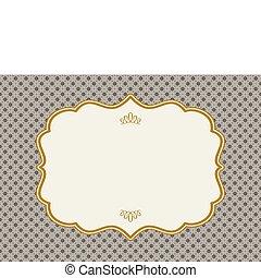 marco, vector, oro, florido