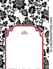 marco, vector, plano de fondo, mitad, floral, rojo