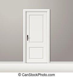 marco, vector, puerta, blanco, cerrado