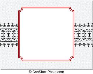 marco, vector, rojo, florido