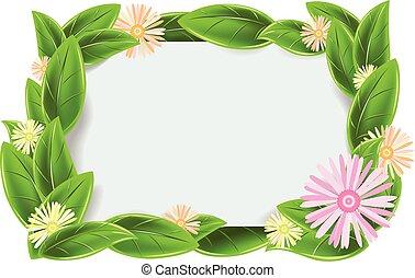marco, verde, hojas