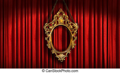 marco, viejo, rojo, oro, cortinas